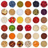 stock image of  collection of fruits and vegetables berries from above square bo