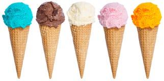 stock image of  collection of ice cream scoop sundae cone in a row icecream isol