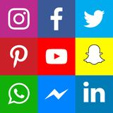 stock image of  collection of popular social media icons