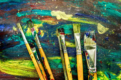 stock image of  color oil painting texture with brushes for bright background