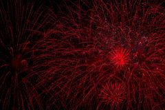 stock image of  colorful fireworks, as big red rain or bisser. explosive pyrotechnic devices for aesthetic and entertainment purposes