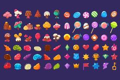 stock image of  colorful jelly glossy figures of different shapes, sweet candy land cute fantasy elements, sweets, candies user