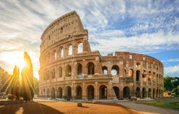 stock image of  colosseum at sunrise, rome. rome architecture and landmark.