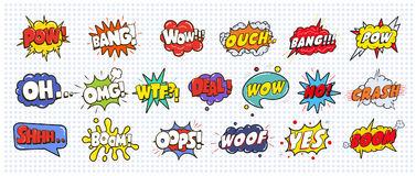 stock image of  comic sound speech effect bubbles set on white background illustration. wow, pow, bang, ouch, crash, woof, no