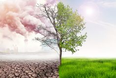 stock image of  comparing green earth and effect of air pollution