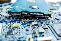 stock image of  computer circuit cpu chip mainboard core processor electronics device