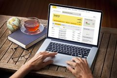stock image of  computer savings account desk laptop bank
