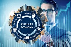 stock image of  the concept of circular economy with businessman