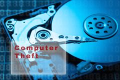 stock image of  concept of data security. data encryption hdd