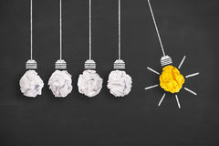 stock image of  concepts of innovation with light bulb on chalkboard background