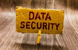 stock image of  conceptual hand writing showing data security. business photo text confidentiality disk encryption backups password