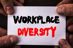 stock image of  conceptual hand writing text showing workplace diversity. concept meaning corporate culture global concept for disability written