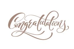 stock image of  congratulations hand lettering calligraphic greeting inscription vector handwritten