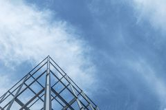 stock image of  the construction of buildings with steel structure on sky background