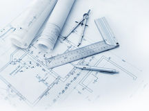 stock image of  construction plan tools