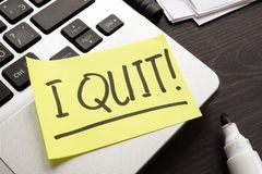 stock image of  constructive dismissal. piece of paper with words i quit job