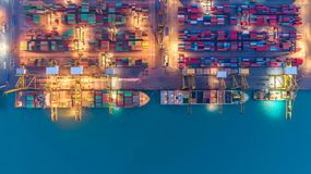 stock image of  container ship in export and import business and logistics. ship