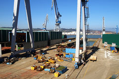 stock image of  containers and cranes