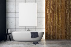 stock image of  contemporary bathroom with empty banner