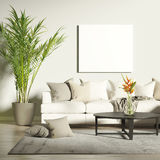 stock image of  contemporary living room with mock up poster