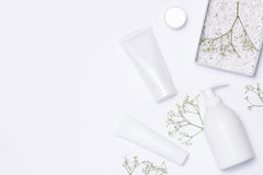 stock image of  cosmetics spa branding mock-up, top view, on white background.
