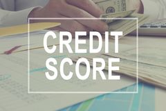 stock image of  credit score concept. manager is working.
