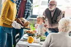 stock image of  cropped shot of man and woman carrying turkey for thanksgiving dinner while excited family looking