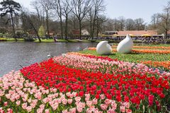 stock image of  crowded and colorfull overview keukenhof landscape