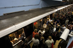 stock image of  crowded subway station