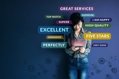 stock image of  customer experience concept. soft focus of happy client standing