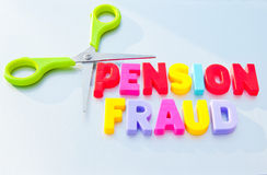 stock image of  cut pension fraud