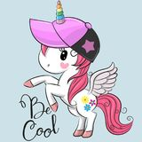 stock image of  cute unicorn with a cap