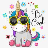 stock image of  cute unicorn with sun glasses