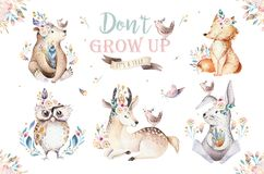stock image of  cute watercolor bohemian baby cartoon rabbit and bear animal for kindergarten, woodland deer, fox and owl nursery