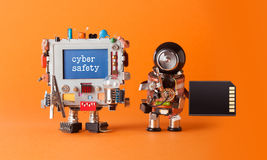 stock image of  cyber safety internet crime security concept. alert message hacked computer. robotic it specialist memory card antivirus