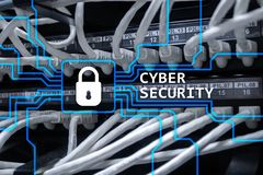 stock image of  cyber security, information privacy and data protection concept on server room background