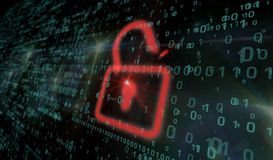 stock image of  cyber security - red padlock