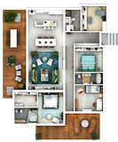 stock image of  architectural 3d floor plan top