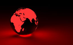 stock image of  3d red glowing earth globe