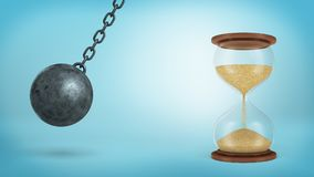 stock image of  3d rendering of a iron wrecking ball swings on a chain ready to hit a large half-full hourglass on blue background.
