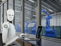 stock image of  robot in factory