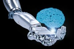 stock image of  robotic hand with ai brain