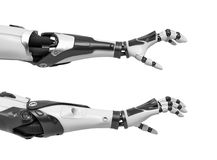 stock image of  3d rendering of two robot arms with hand fingers in grabbing motion on white background.