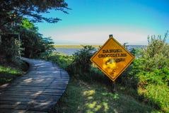 stock image of  danger crocodiles on path