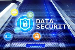 stock image of  data security, cyber crime prevention, digital information protection. lock icons and server room background