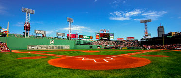 stock image of  day game at fenway park, boston, ma.