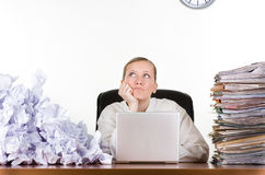 stock image of  daydreaming at work