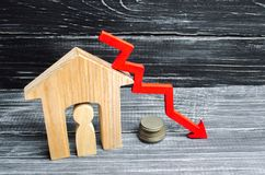 stock image of  a decline in property prices. population decline. falling interest on the mortgage. reduction in demand for the purchase of housin