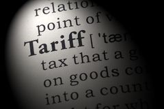 stock image of  definition of tariff