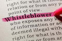 stock image of  definition of whistleblower